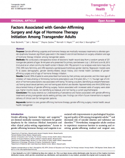 Factors Associated with Gender-AffirmingSurgery and Age of Hormone TherapyInitiation Among Transgender Adults
