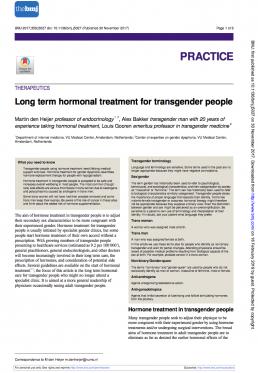 Long term hormonal treatment for transgender people