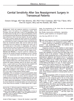 Genital Sensitivity After Sex Reassignment Surgery inTranssexual Patients