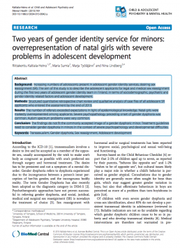 Two years of gender identity service for minors