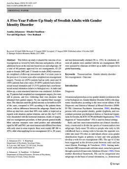 A Five-Year Follow-Up Study of Swedish Adults with Gender Identity Disorder Kjønnsdysfori
