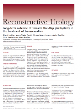 Long-term outcome of forearm flee-flap phalloplasty inthe treatment of transsexualism