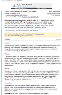 Mental health of transgender youth in care at an adolescent urban community health center_ A matched retrospective cohort study